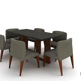 D04班诺餐台六椅3d模型