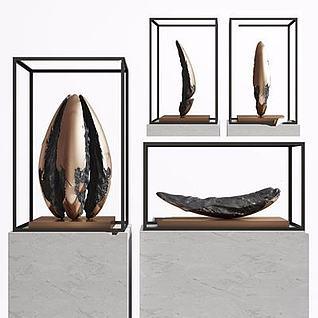 新中式石雕摆件3d模型
