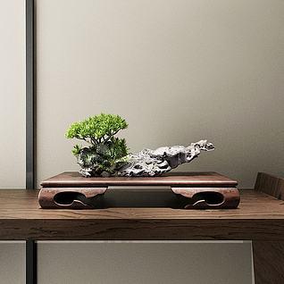 中式端景迎客松3d模型
