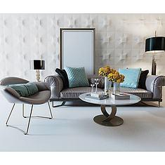 现代沙发茶几3D模型3d模型