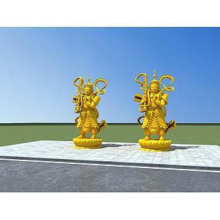 托塔天王雕塑3d模型