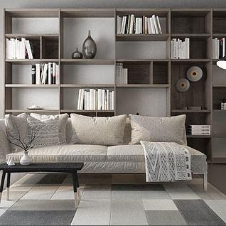 布艺舒适沙发书柜组合3d模型