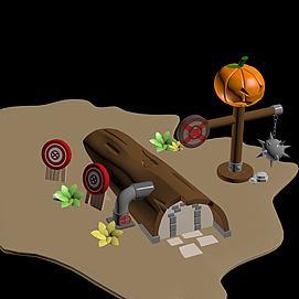 Q版树屋模型