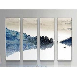 中式四联装饰画3d模型