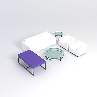 简约沙发茶几3d模型