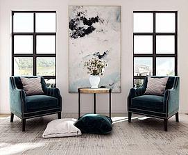 现代沙发椅边几组合模型
