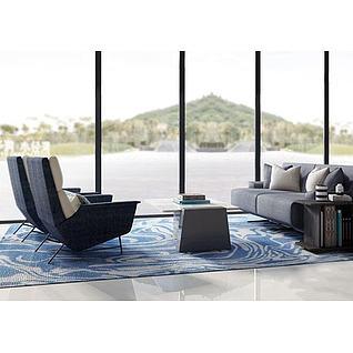 现代休闲沙发3d模型