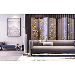 新中式沙发3d模型3d模型图片
