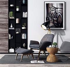 北欧单人沙发椅模型3d模型