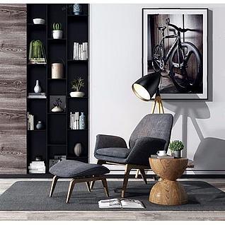 北欧单人沙发椅3d模型