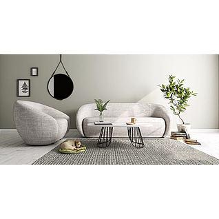 北欧布艺沙发3d模型