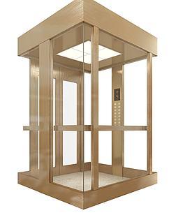 拉丝不锈钢观光电梯模型3d模型