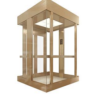 拉丝不锈钢观光电梯3d模型