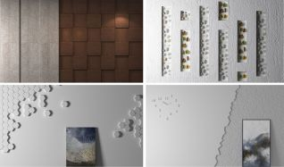 鹅暖石枫叶装饰背景墙模型3d模型