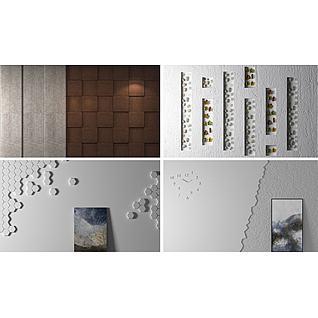 鹅暖石枫叶装饰背景墙3d模型3d模型