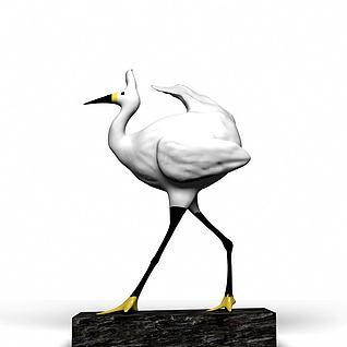 仙鹤雕塑摆件3d模型