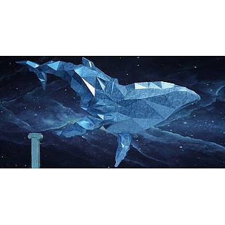 晶体鲸鱼摆件3d模型