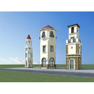 欧式建筑塔楼3d模型