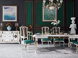 欧式高档餐桌椅模型
