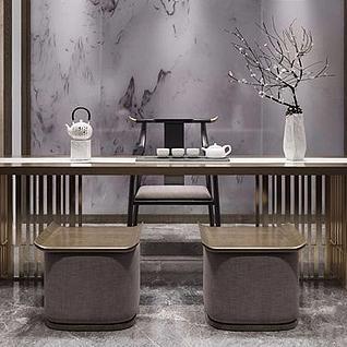 中式餐桌椅3d模型