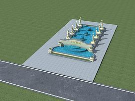 欧式中庭喷泉3d模型