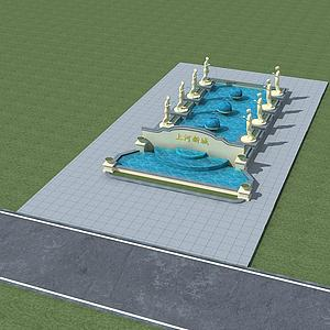 歐式中庭噴泉模型3d模型