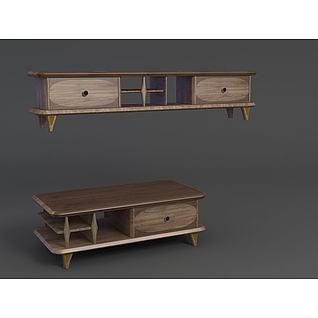 原木复古电视柜3d模型