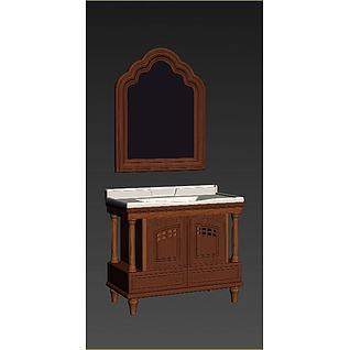 美式浴室柜3d模型