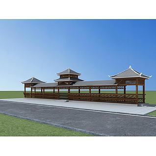 苗族廊亭3d模型