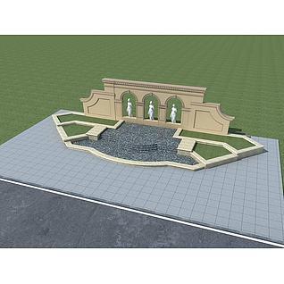 欧式景墙叠水3d模型