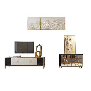 奢华电视柜立体挂画组合3d模型