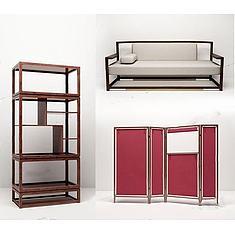 中式沙发组合3D模型3d模型