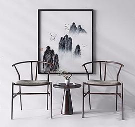 新中式休闲椅模型