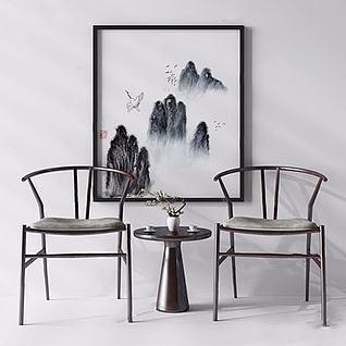 新中式休闲椅3d模型