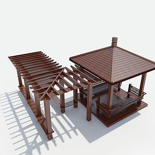 凉亭花架3d模型