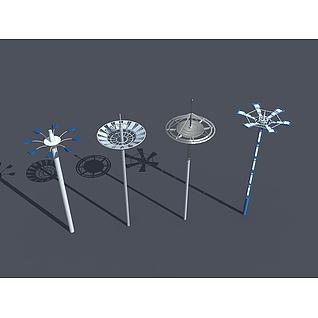 广场高杆灯3d模型
