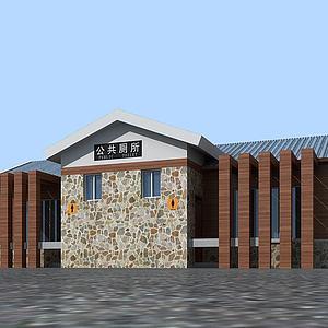 3d景區公廁廁所模型
