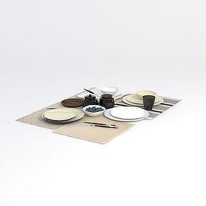 简约餐具模型