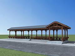 古建连廊模型3d模型