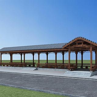 古建连廊3d模型