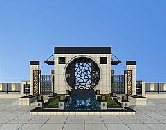 中式小区大门入口模型3d模型