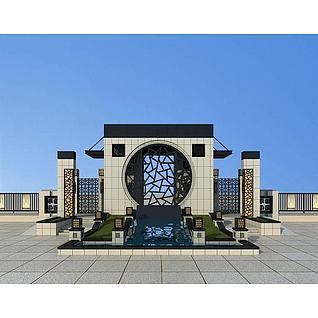 中式小区大门入口3d模型