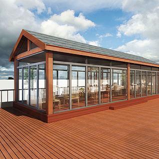 木质阳光房3d模型