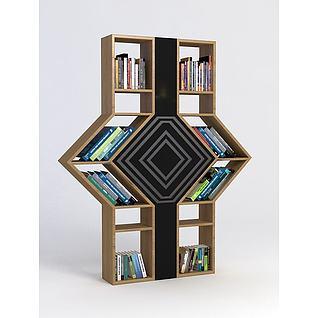 现代书柜3d模型3d模型