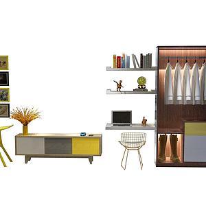 现代挂画衣柜模型3d模型