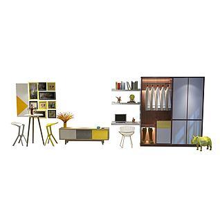 现代挂画衣柜3d模型