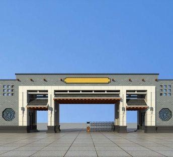 中式小区大门入口