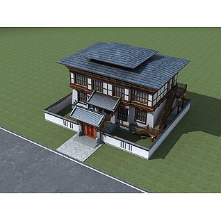 藏式别墅3d模型