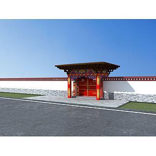藏式门头3d模型