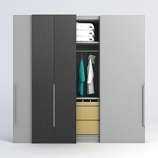 三开门衣柜3d模型